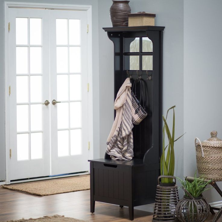 Belham Living Richland Mini Hall Tree - Black - Standing tall in any foyer or entryway, the charming, wooden Richland Mini Hall Tree - Black features a deep black finish that has a contemporary touch,...