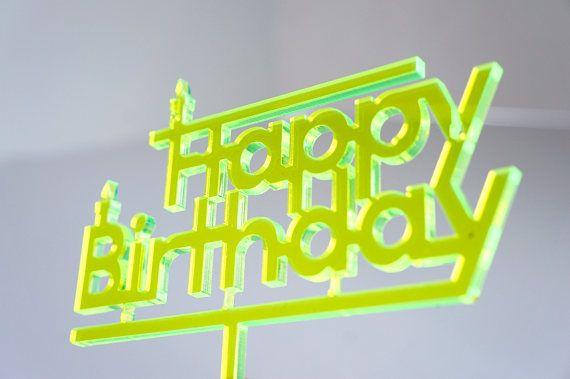 Topper Happy Birthday Jaune Fluo