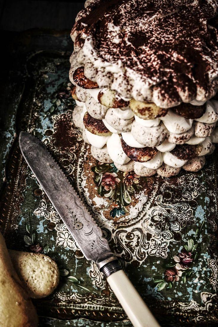Tiramisu cake with hazelnut dacquoise and homemade lady fingers