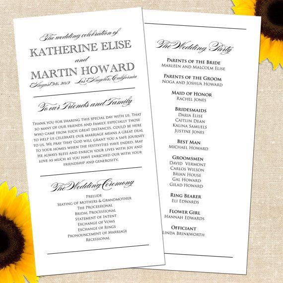 18 best Wedding Program Ideas images on Pinterest Wedding programs