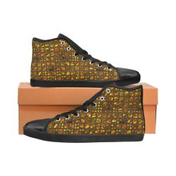 Golden Deco High Top Canvas Women's Shoes/Large Size (Model 002)
