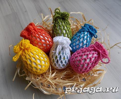 Корзинки для яиц крючком