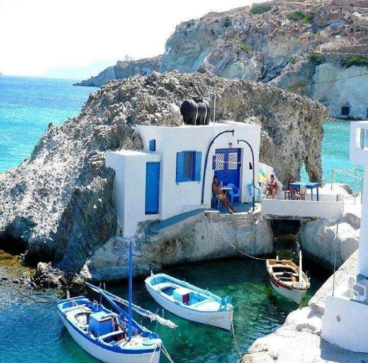 Part cave, part island, part bungalow and full awesome is whatever this is in Greece ///