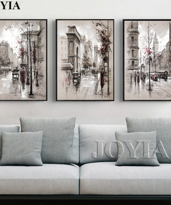 Home Decor Canvas Wall Art Vintage City Street Landscape Paintings For Living Room Wall 3 Piece Retro Paris Picture Set No Frame In 2020 Room Wall Painting Wall Art Living Room #wall #paintings #for #living #room #images