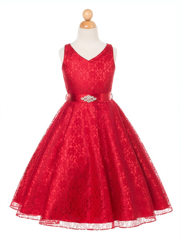Red Lovely Lace V Neck Flower Girl Dress Available In