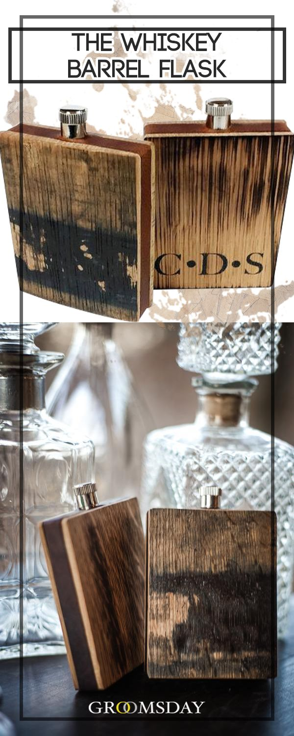 This Whisky Barrel Flask contains the same elements previously used to store and cure the finest bourbon. So now you can impart the same traditional, barrel-aged flavor onto each sip.There are no other groomsmen gift ideas that will fit the bill like this one.Share & repin!  Only from Groomsday | Groomsday.com #flask #groom #groomsmen #groomsmengifts #personalizedgifts #giftsformen #mensaccessories