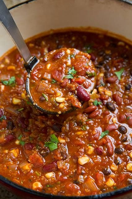 Vegetarian Quinoa Chili. Do not add corn, unless you are certain it is 100% non-gmo. Carrots would work fine. No need to add the sugar either; we get enough of that.