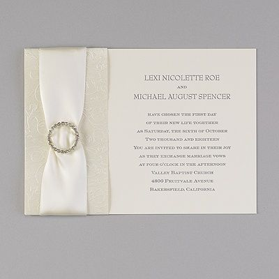 A Rhinestone Brooch Satin Ribbon An Embossed Ecru Shimmer Band And Your Wording Make This Wedding Invitation Sparkle