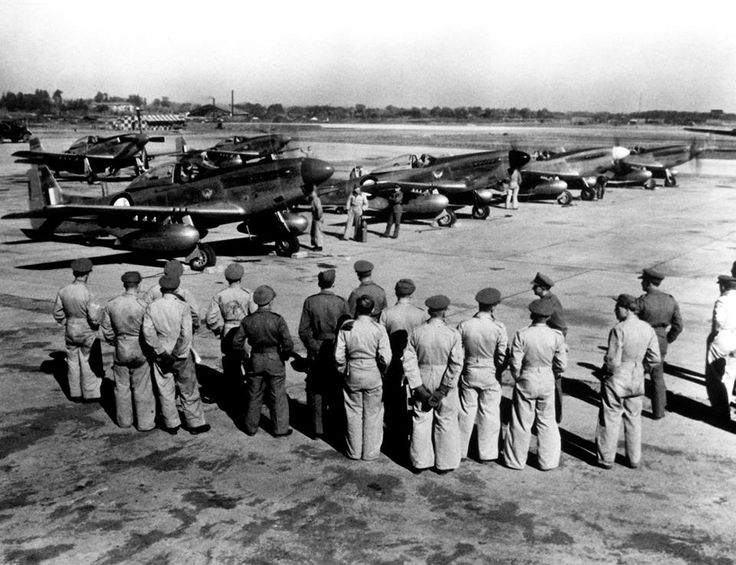 South African Air force P51D (F51D) Mustangs 2 Squadron on their first mission in Korea.