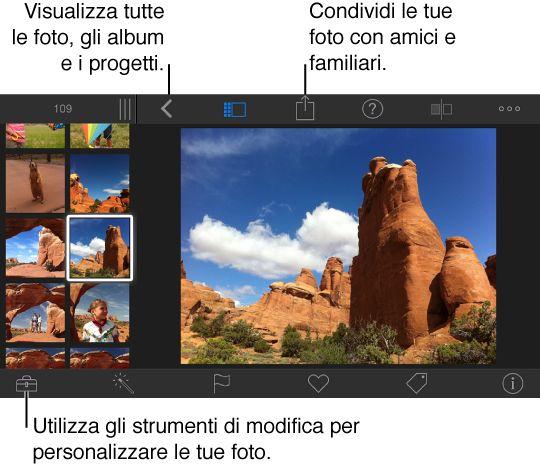 iPhoto su iPhone in modalità di modifica e orientamento orizzontale