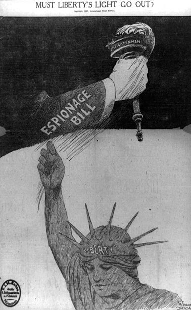 """ESPIONAGE ACT: Passed by Congress during World War I, the Espionage Act of 1917 made it a crime to convey information intended to interfere with the war effort or promote the success of the nation's enemies. It was aimed at socialist and anti-war activists during the war, and was used extensively after the war during the first """"Red Scare"""" -- a period of widespread public fear of communist influence and infiltration into American society fueled by labor violence and anarchist bombings."""