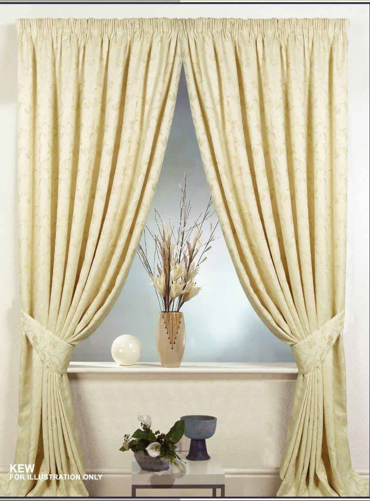 Interior, Elegant Curtains Design For Modern Room Decoration Design: Ivory Heavy Weight Curtain Fabric With Pencil Pleat Heading For Beautif...