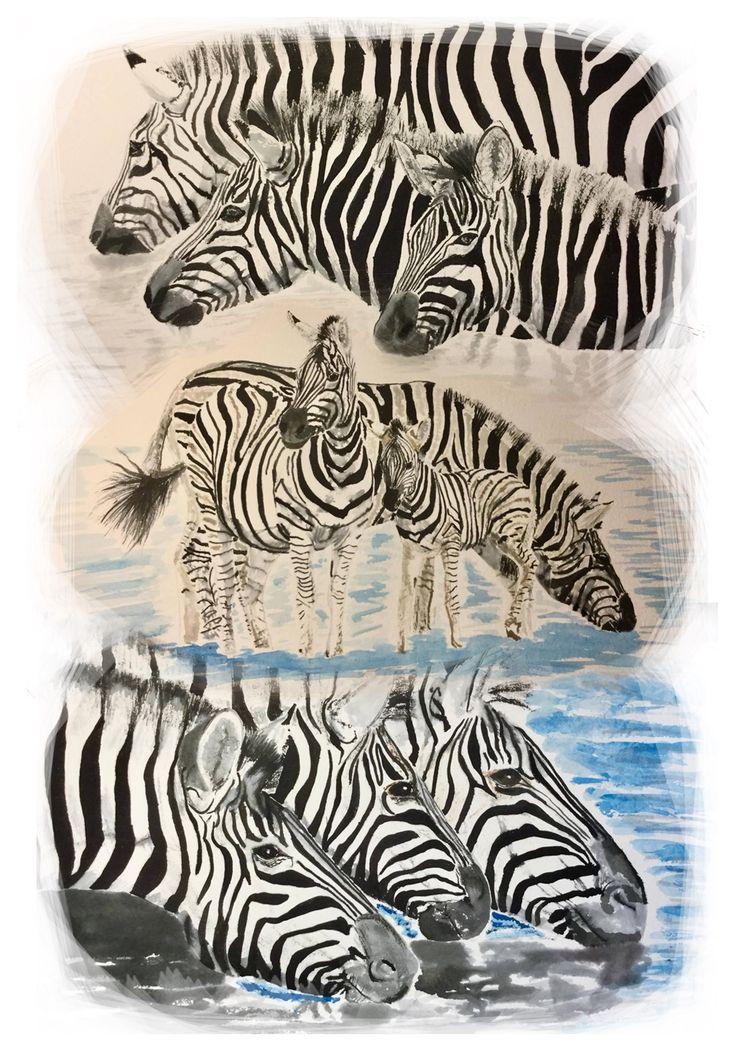 Vignette of Zebra #art #watercolour #pen & ink #zebra
