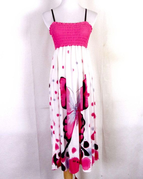 bf38e1e268 vtg 90s euc Julia ladies Pink Huge Butterfly Graphic Pattern Tube Top Dress  Summer M L