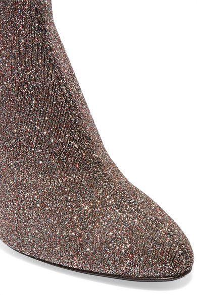 Giuseppe Zanotti - Glittered Stretch-knit Ankle Boots - Silver - IT38.5