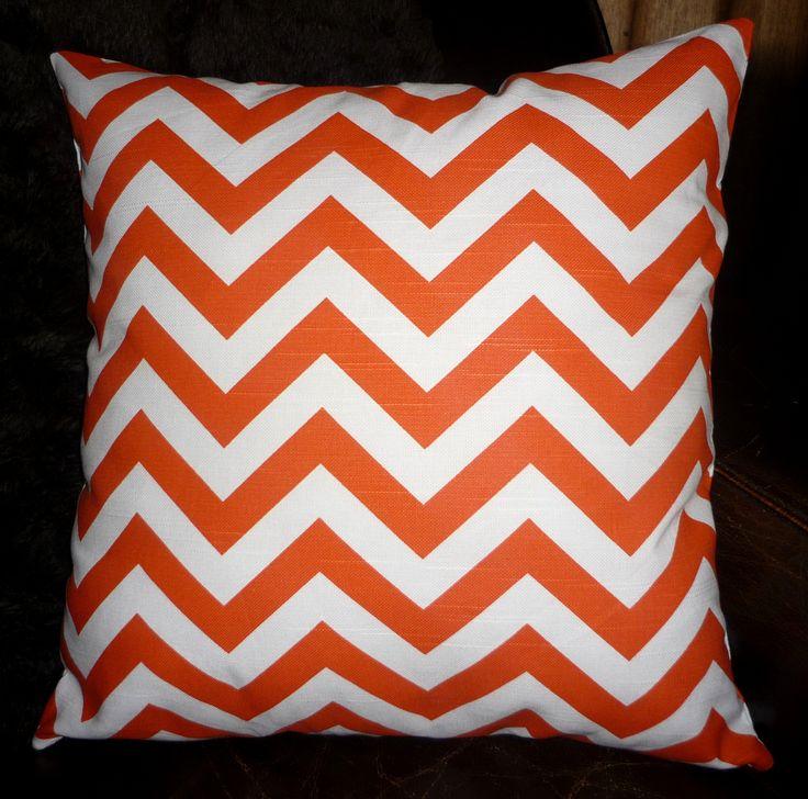 Orange & white chevron cushion cover