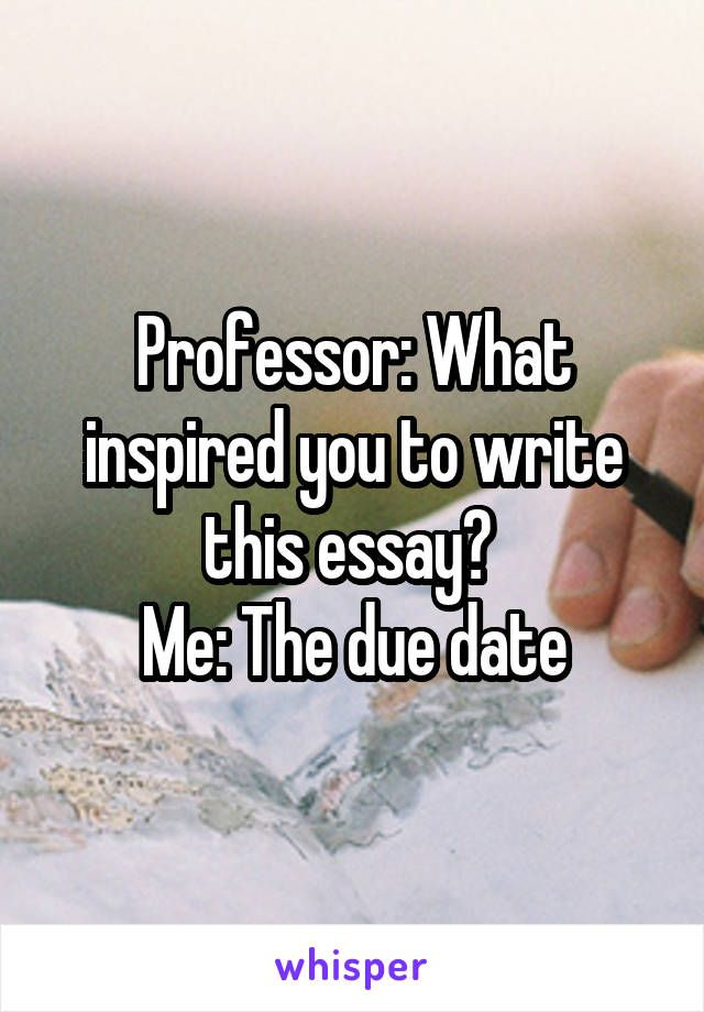 Professor What Inspired You To Write This Essay Me The Due Date Humor Humorquotes Humorous Funny Funnyquotes Funny Memes What Inspires You Hilarious