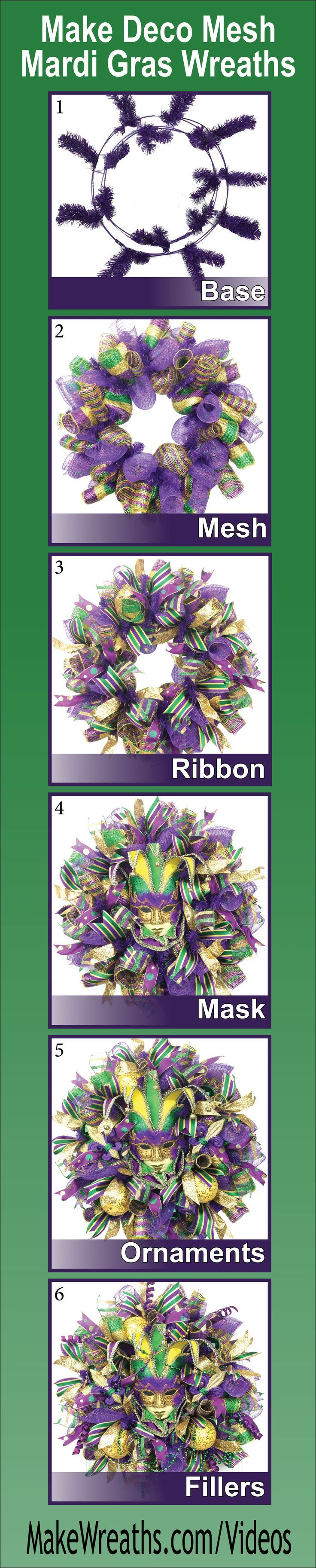 """""""SAVE MONEY AND MAKE YOUR OWN!...Learn step-by-step how to make SPECTACULAR Deco Mesh Mardi Gras Wreaths. Learn to make a perfect base using THREE types of mesh, add ribbon, masks, ornaments and throw beads.  List of supplies and vendors included. Click t"""