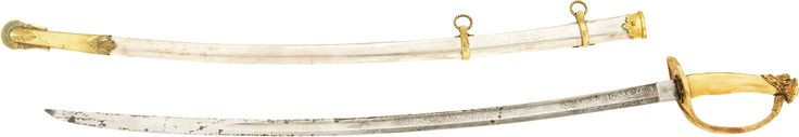 "Lt. Col. Porter S. Cox : M1840/60 Presentation Grade, Ivory Grip Cavalry Officer's Saber. The saber is inscribed on the reverse of the scabbard between the ring mounts, ""Presented to/ Lt. Col. Porter S. Cox/ the Officer who whipped Thrailkill/ and killed Bill Anderson the Bandit/ by his friends in St. Joseph, Mo./ Nov. 25th 1864."
