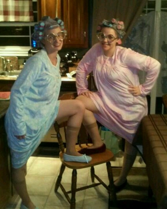 Old lady costumes---don't you just wish you had the curlers!