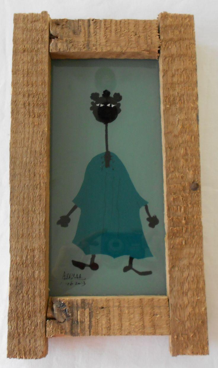 Cadre peinture sou verre sign barry chambre pinterest for Cadre peinture design