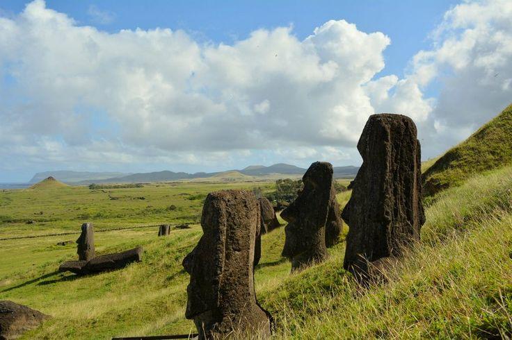 """Con el paso de los años los moais que quedaron en la cantera del volcán Rano Raraku se fueron cubriendo de tierra hasta quedar medio enterrados, a lo largo de lo que se conoce como el """"camino de los moai"""""""