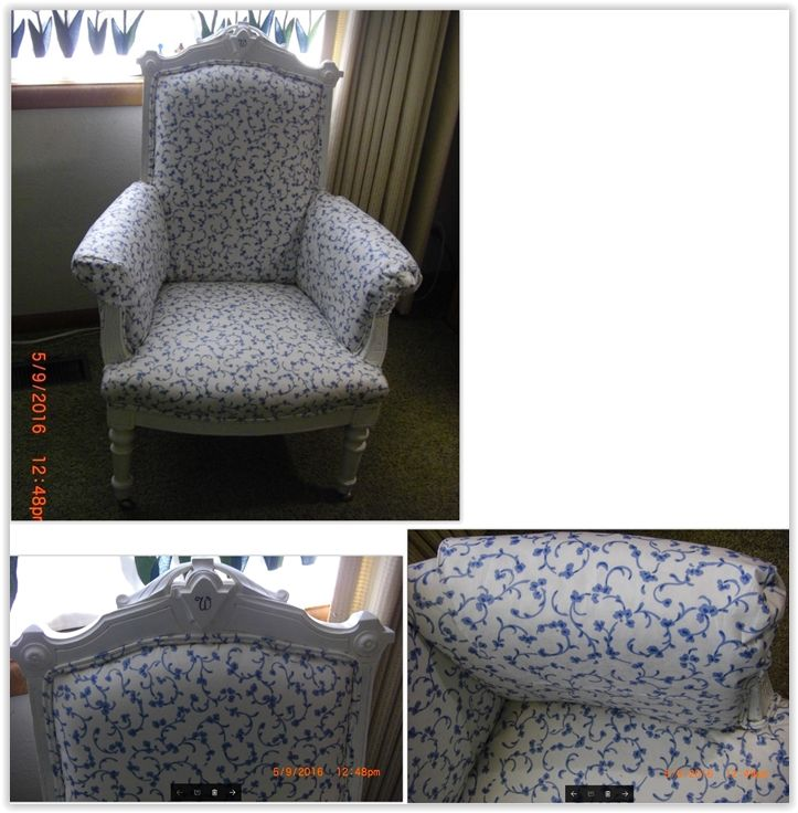 "Antique Re-Upholstered Chair ... family heirloom, my first ever upholstery job, chalk paint white, added monogram ""W"", & made matching arm covers just like the original chair, added fusible webbing to fabric for more stiffness & stability ........ #DIY #chair #antique #upholstery #fabric #fusiblewebbing #chalkpaint #stencil #furniture #decor #crafts"