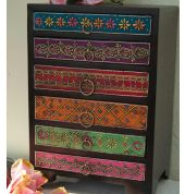 Fair Trade Mehandi 6 Drawer Chest by INDICA  Very pretty decorative Indian embossed chest of drawers, great for desk tidy or storage.Details:Size:30x20x14cm.Materials:Sheesham wood