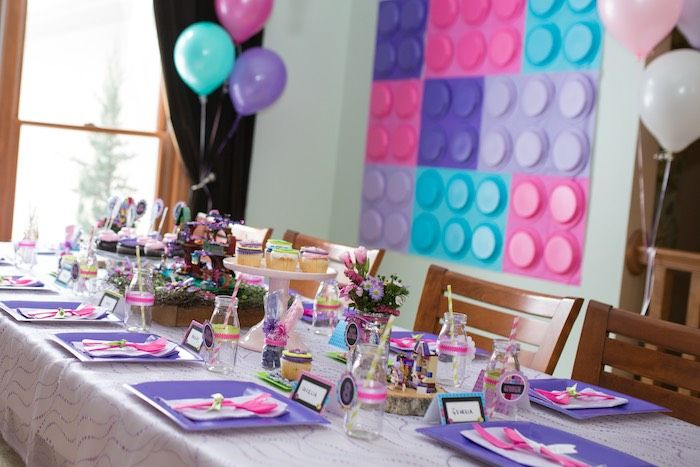 Dining Tablescape from a Girl Themed Lego Party via Kara's Party Ideas | KarasPartyIdeas.com (24)