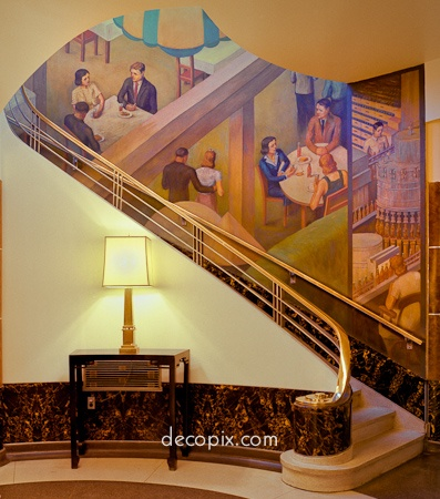 Art Deco Mural, Coca-Cola Bottling Company, Indianapolis, Indiana…