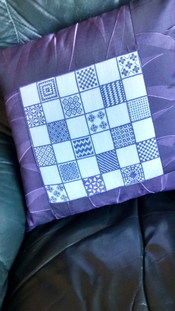 chess board #1, began in black stitch, too  impatient, changed to cross stitch, then realized blocks were too small, became cushion.