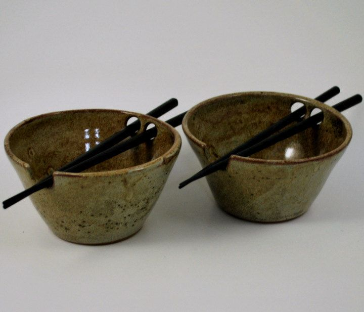 Set of Two Ceramic Rice Bowls Cream Rustic with Chopstick Holders Stoneware Pottery by donnakellerpottery on Etsy