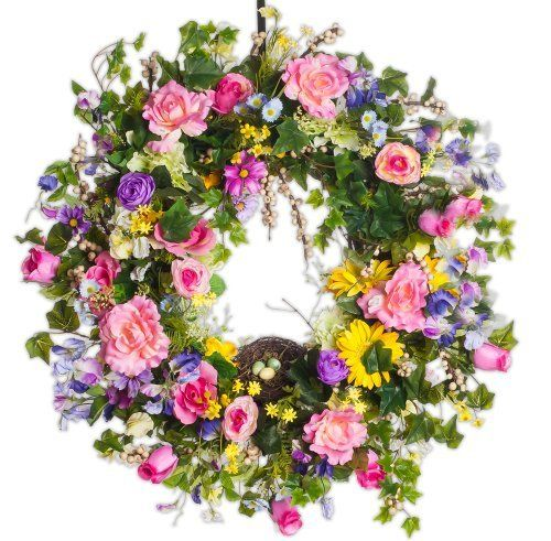 Mixed Floral Spring Wreath by Darby Creek Floral. $179.00. Indoor or Outdoor Use. All Natural Grapevine Base - Made in USA. Front Door, Mantel or Wall Wreath. Made to Order Designer Wreath - Made in Powell OH. Premium Imported Silk Flowers - Hand Painted. This spring silk wreath contains a variety of spring and year round floral including roses, ranuculs, ivy, berries and has a nice finished touch with a birds nest. Perfect over the mantel or on your front door.