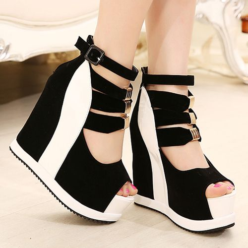 Sexy Womens Wedges Platform Strappy Sandals New Mixed Color Nightclub Shoes, $60.82