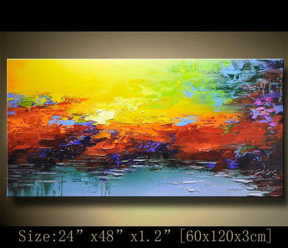 Colorful Abstract Wall Painting,popular Textured Painting,,Impasto Landscape Painting ,Palette Knife Painting on Canvas by Chen 1220 Texture Painting On Canvas, Palette Knife Painting, Textured Painting, Abstract Landscape Painting, Landscape Paintings, Abstract Art, Your Paintings, Original Paintings, Modern Landscaping