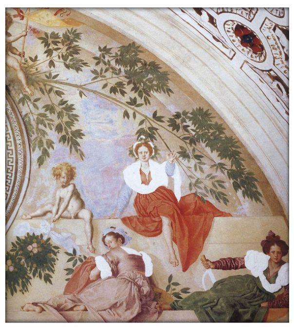 Роспись стен, фреска «Вертумн и Помона» Понтормо. Поджо а Кайано, вилла Медичи