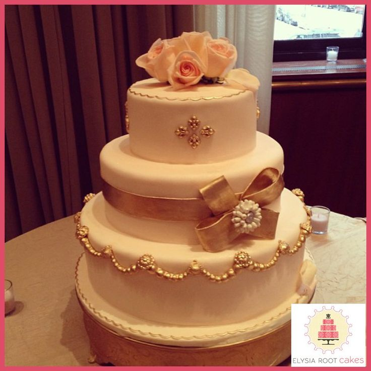 wedding cake peach color colored wedding cake with edible gold ribbon amp bow 23394