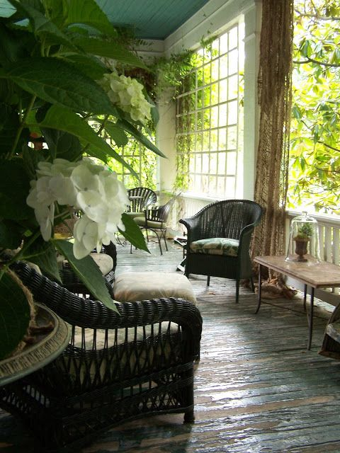 TARA DILLARD: Front Porch: A Way to Test Design, furniture, lattice, drapes, color, green, brown, white, susanne hudson's front porch:
