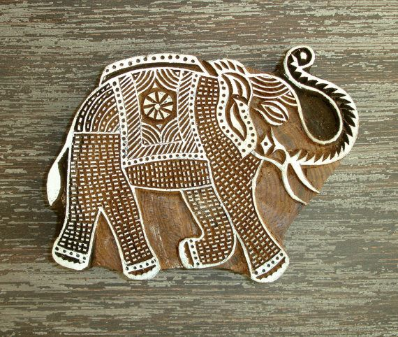 Large Elephant Stamp, Hand Carved Wood Stamp, Handmade Indian Elephant Wooden Printing Block, Ceramics Textile Pottery Stamp, From India, by DelhiDaze, $35.00