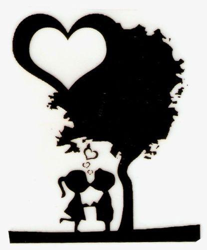 Boy Girl Kissing Tree Silhouette Iron on Transfer   eBay