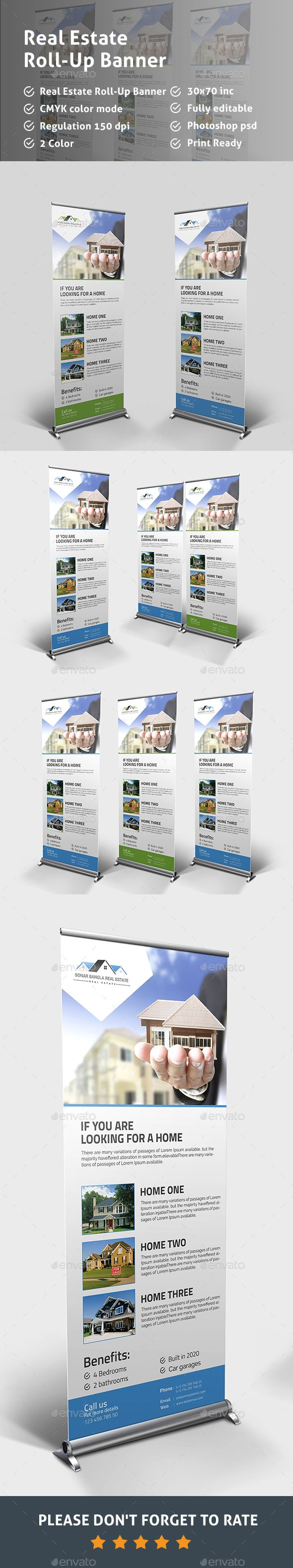Real Estate RollUp Banner — Photoshop PSD #roll-up banner #banner • Availabl...