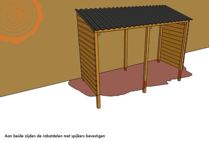 Zelf Houten Haardhout Afdakje maken / Berging bouwen
