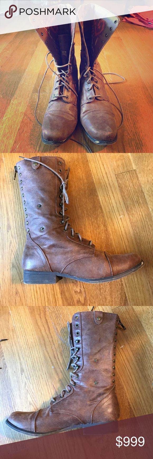 Madden Girl Boots -- Offers for pricing! For Sale: Madden Girl Boots. Brown, size 8.5, but run a bit small (I'm an 8.5 and they were snug). Hardly worn, good condition. Patterning on the inside. They lace up, but are also cute if tied around the leg. Zip up in the back. Price isn't as listed -- I'm looking for the best reasonable offer. Madden Girl Shoes Lace Up Boots