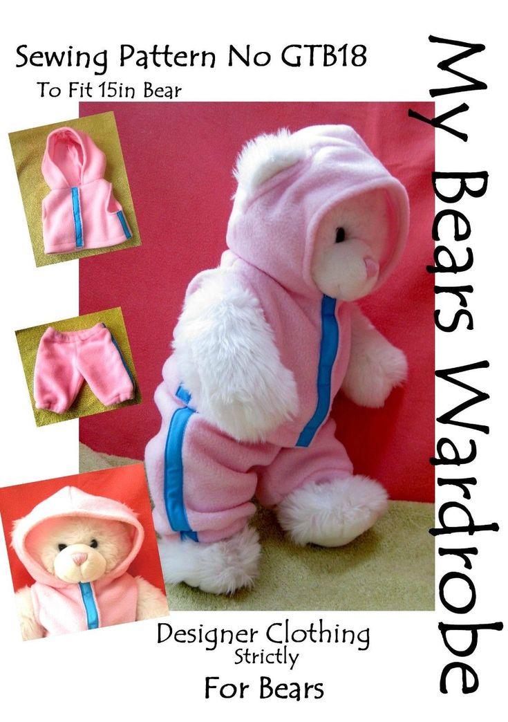 Sewing Pattern Teddy Bear toy Clothes by My Bears Wardrobe fits build a bear | eBay
