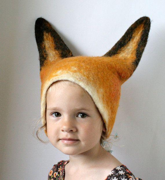 Fox Hat  Hand Felted Wool  Size Medium / Large by vaivanat on Etsy, $35.00