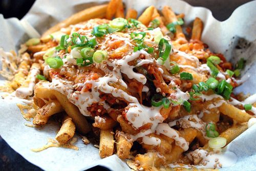Loaded fries: Chilis Chee, Poutine, Kimchi, Pork Belly, Potatoes, Food Trucks, French Fries, Bacon, Chilli Chee Fries