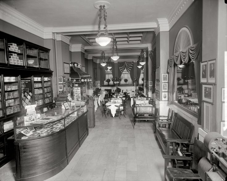 "Washington, D.C., circa 1920. ""Gus Buchholz, Occidental Hotel interior."" A view of the restaurant."
