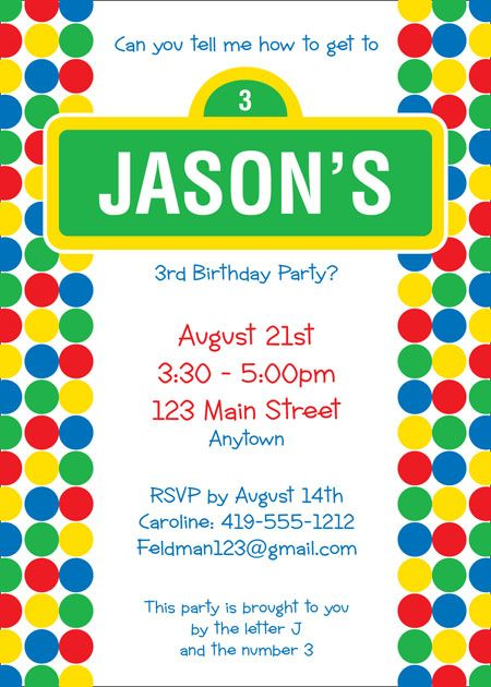 Birthday Sesame Street Invitation / A fun Sesame Street inspired invitation.