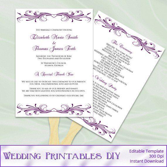 fan program template diy printable purple heart ceremony program fans