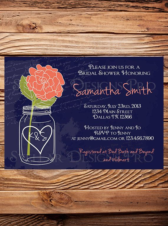 10 best shower ideas images on pinterest invitations wedding bridal shower invitation coral rose mason jar blue coral mason jar navy mason jar wedding shower bridal shower invite 5021 filmwisefo Image collections